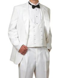 New Arrival Groom Tuxedos White Groomsmen Peak Satin Lapel Best Man Suit Bridegroom Wedding Prom Dinner Suits (Jacket+Pants+Tie+Vest) K631