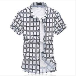 Wholesale-chemise homme 2016 High quality plaid shirts Mercerized cotton stretch shirt short sleeve men shirt chemise homme size M- 6XL