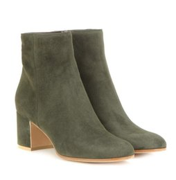 Wholesale Free ship popular brand new GR green suede ankle boots women fashion boots high heels women boots