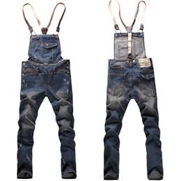Wholesale Suspenders mens skinny jean overalls detachable suspenders bib pants holes denim jeans overall jumpsuit suspenders
