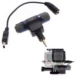 Usb gopro en Línea-Nuevo micrófono estéreo de 3,5 mm para GoPro HD Hero 2 3 3 + 4 + Mic del micrófono de la cámara USB cable adaptador 100-10 respuesta de frecuencia