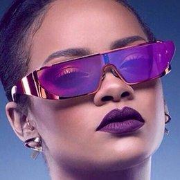 Descuento gafas de sol púrpura El más nuevo 5 estilo cuadrado polarizó las gafas de sol diseñador de la marca de fábrica para las mujeres La personalidad de Rihanna Conjoined el marco reflexivo del metal Sun glassess púrpura