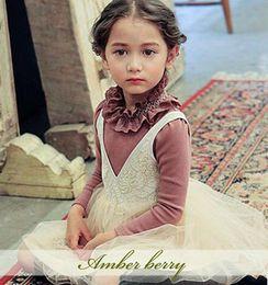 Wholesale Amber berry Girls T shirt Autumn new children falbala collar long sleeve T shirt Kids cotton princess tops Girls fall clothing A9466