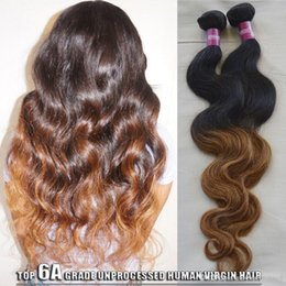 2017 cheveux ondulés tisse pour les femmes noires 2 Tone Black Women Extension de cheveux humains ondulés Ombre Weave 2pcs 1b / 30 Ombre Forme de cheveux nature brésilienne Ombre Brazilian Body Wave