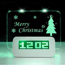 Wholesale Highstar Romantic Fluorescent Message Board Blue Green LED Digital Luminous Electronic Table Desktop Alarm Clock Calendar With USB Hubs