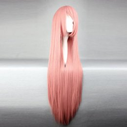 free shipping***Charming 100CM Somke Pink Long Straight Synthetic Girls Lolita Cosplay Full Wig