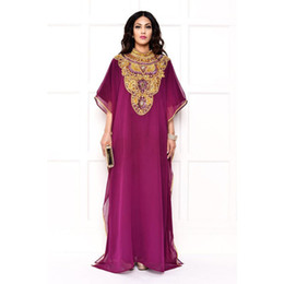 Arabian Dubai Kaftan Arabic Evening Dresses Beaded Crystal Collar Muslim Islamic Celebrity Dress Formal Party Gowns Abaya Caftan Chiffon