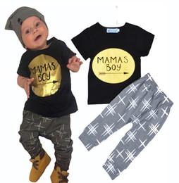 Wholesale NWT Cute Cartoon MAMAS BOY Baby Girls Boys Outfits Set Summer Sets Boy Cotton Tops Harem Pants Suits Kid Shirts Golden Gold