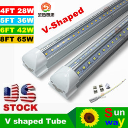 Wholesale V Shaped ft ft ft ft Cooler Door Led Tubes T8 Integrated Led Tubes Double Sides SMD2835 Led Fluorescent Lights V Stock In USA