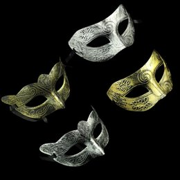Wholesale Retro Greco Roman Mens Mask for Mardi Gras Masquerade and Gladiator masquerade Vintage Golden Silver Mask silver Carnival Halloween Masks