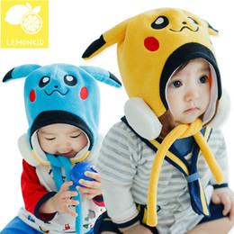 Wholesale Anime Poke Go Pikachu Fancy Costume Cute Baby Soft Warmer Hat Cap Beanie Stuffed Plush Mask Cosplay Winter Hat Cap for Children PKC009