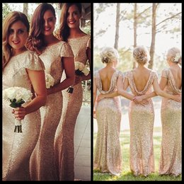 Champagne Gold Long Bridesmaid Dresses Sequined Short Sleeve Floor Length Bridesmaid Dress 2016 Prom Dress Wedding Party Dress