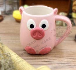 Wonderful friend pink pig cute cup hand-painted mug cup breakfast milk coffee cup drinking drinking water bottle