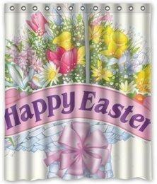 Wholesale Feliz Pascua Flores baño de agua Tamaño tela de la cortina de la ducha W x180 H cm