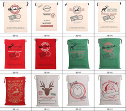 Wholesale new Design styles Large Canvas Monogrammable Santa Claus Drawstring Bag Reindeers Monogramable Christmas Gifts Sack Bags for kid
