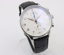 Wholesale -2016 NEW Luxury watch white Sapphire Portuguese Quartz Chronograph High quality Men's Watch Leather Band Watches
