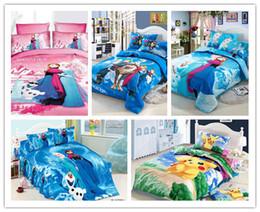 Wholesale POKE Frozen Cartoon Bedding Set Kids pokémon Pikachu Duvet Cover Set Bedsheet Pillowcase pc cotton Bed Linen Twin Size