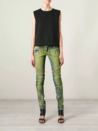 Wholesale 2016 BALMAIN Womens Ribbed Zip Moto Skinny Denim Jeans green Brand New size