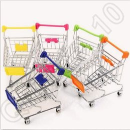 Wholesale 120pcs CCA4261 High Quality Candy Color Cute Shopping Cart Mobile Phone Holder Pen Holder Mini Supermarket Handcart Shopping Utility Cart
