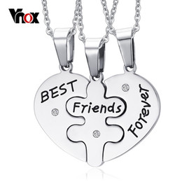 New Best Friend Forever Necklaces Pendants Silver Plated Stainless Steel Pendants 3 Pieces One Set for Best Friend Gift