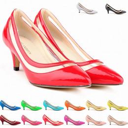Sexy Pointed Toe Middle Heels Women Pumps Shoes Brand New Design Less Platform Pumps 11 colors US Size 4-11 D0013