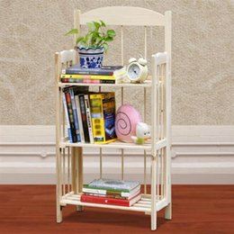 Wholesale 3 Shelf Folding Wodden Display Bookcase Home Office Storage Rack Shelving Unit
