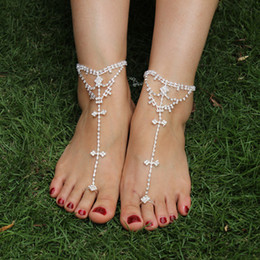 Wholesale Diamond anklets barefoot beach anklet bride anklets foot showcase Rhinestone barefoot sandals European and American fashion women jewelry
