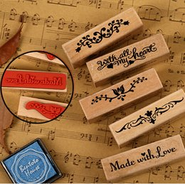 Wholesale-Vintage decorative wood and rubber stamps with all my heart Multi-purpose scrapbook DIY tool Labels, Indexes & Stamps