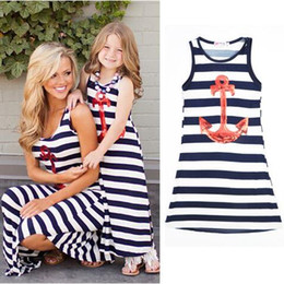2016 Parent-child Family Dress Blue and white stripes boat anchor dress Mother and daughter outfit vest dress