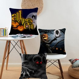 Halloween festival Scary Cartoon creative Skull fearful printed pillow Home Sofa cushion linen cover comfortable cushion cover 45*45cm