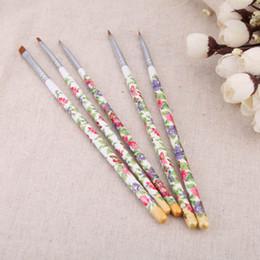 Hot Sale 5Pcs Nail brushes Set Nail Art Wood UV Gel Salon Pen Flat Brush Kit DIY Professional Nail Tools