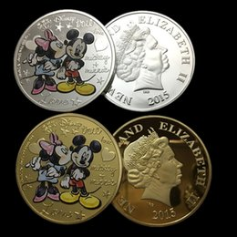 Wholesale 10 sets The American Cartoon animal Minnie Mickey true love kiss Elizabeth real gold silver plated colored souvenir replica coin
