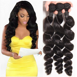 Fashion Style Malaysian Loose Wave Weave Natural Color Human Hair Extensions Unprocessed Raw Loose Wave Hair Bundles Free Shipping