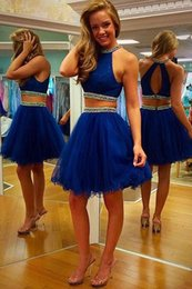 Discount jewel neckline homecoming dress - Two Pieces Royal Blue Homecoming Dresses Beaded Neckline Pleated Tulle Knee Length Open Back Prom Dresses Cocktail Party Dresses