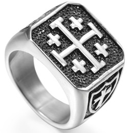 Stainless Steel Size 7-15 Jerusalem Cross Ring Religious Christian Five Wounds of Jesus Church Prayer Cocktail Party
