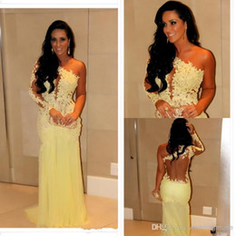 2019 Celebrity Prom Dresses Marianne Rabelo Mermaid One Shoulder Long Sleeve Lace Backless Sweep Train Yellow Tulle Party Gowns