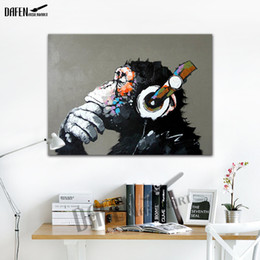 Gorilla Listening To The Music - 100% Handmade Oil Painting On Canvas Funny Cartoon Animal Wall Unframe Bedroom Decoration