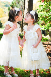 Wholesale 2016 Cute Sweet Ivory Lace Flower Girls Dresses Rustic Baby Doll Dresses Cap Sleeves With Ruffle Lace Top And Bow