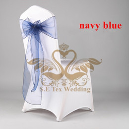 Wholesale 100 Poly Universal Lycra Spandex Chair Cover With Navy Blue Organza Chair Sash