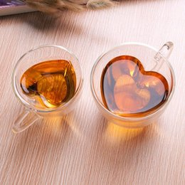 Wholesale Creative Clear Heart Shaped Double Wall Glass Tea Cup Coffee Cup Mug Best Gifts to Lover Valentine
