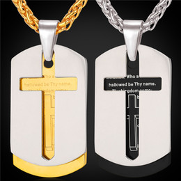 U7 Cross Necklace Stainless Steel Men Bible Lords Prayer 18K Gold Plated Double Dog Tags Pendant For Men Christian Jewelry