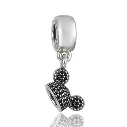 Hat Charm Beads Blue crystal S925 Sterling Silver Fits For Pandora Style Bracelets Free Shipping Lw628BH9