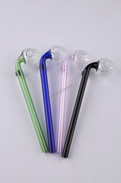 Wholesale Colorful Curved Glass Pipes Smoking Pipe cm Multi color clear glass Oil burners water pipe balancer