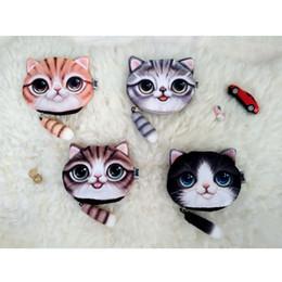 Cute Cat Coin Purse Ladies 3D Digital Printing Cats Face Coin Purses Fashion Cartoon Zipper Bag Tail Zipper Wallet