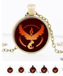 Wholesale Poke ball necklaces keychain Pocket Monsters Pikachu Eevee Charizard time gem glass cabochon necklace women men kids toy