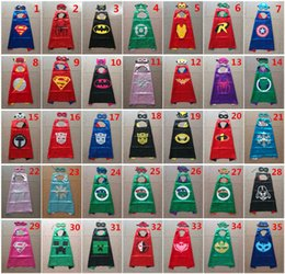 Wholesale 35 styles Double side kids Superhero Capes and masks Batman Spiderman Ninja Turtles Flash Supergirl Batgirl Robin for kids capes with mask