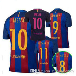 Wholesale Top thai Quality Jerseys MESSI ARDA A INIESTA SUAREZ SERGIO PIQUE I RAKITIC barcelona soccer jersey home and away shirt