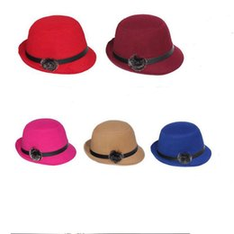 New Spring Winter Women Top Hats Fashion Lady Bucket Hats Felt Trilby Hat Female Stingy Brim Hats GH-36