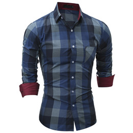 Men Plaid Casual Shirt New Men's Fashion Slim Fit Clothing Long Sleeve Shirt Casual Cotton Shirt Men Social camisa masculina Drop Shopping