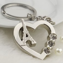 Wholesale Heart shaped key ring Set auger Paris Eiffel Tower key chain Creative gifts Activity promotion gifts France souvenirs keychain